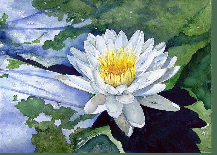Flower Greeting Card featuring the painting Water Lily by Sam Sidders