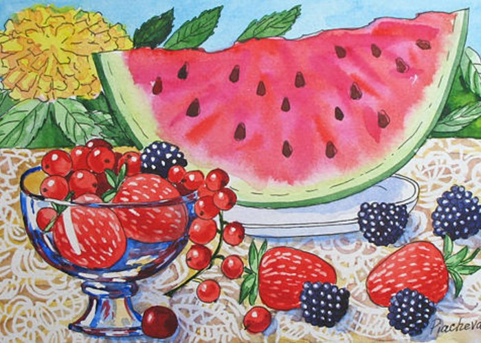 Floral Greeting Card featuring the painting Water-melon and Berries Still Life. by Natalia Piacheva