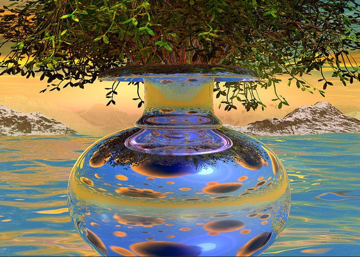 Foto-real Greeting Card featuring the digital art Water-mirror-urn Randm Yello Sky Glo by Terry Anderson