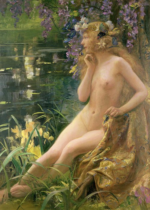 Water Nymph (oil On Canvas) By Gaston Bussiere (1862-1929) Greeting Card featuring the painting Water Nymph by Gaston Bussiere