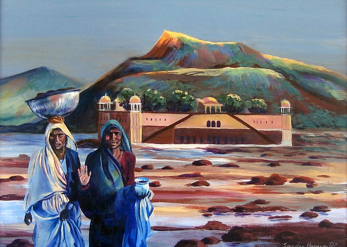 Water Palace Greeting Card featuring the painting Water Palace In A Drought by Art Nomad Sandra Hansen