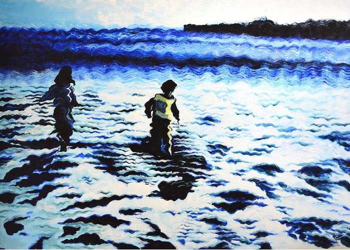 Ocean Greeting Card featuring the painting Water Play by Hadi Aghaee