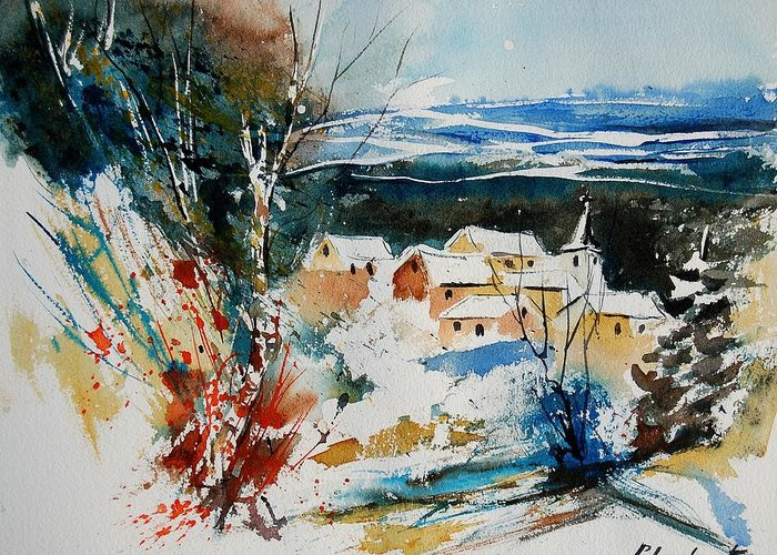 Winter Greeting Card featuring the painting Watercolor 011040 by Pol Ledent