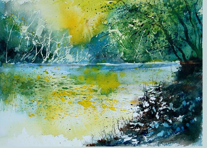 Pond Greeting Card featuring the painting Watercolor 051108 by Pol Ledent