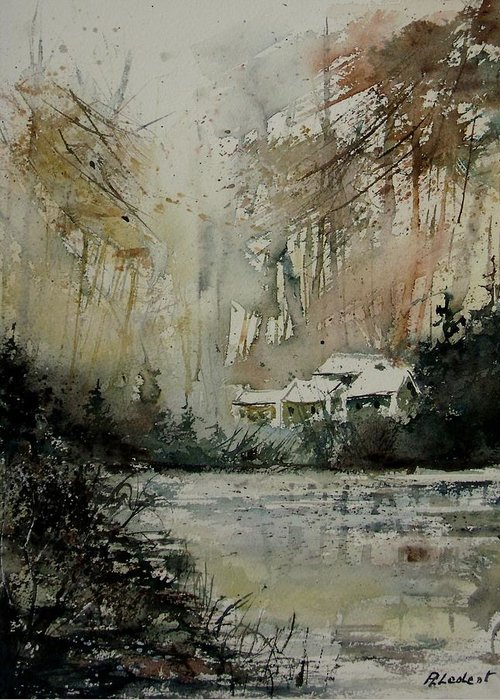 Landscape Greeting Card featuring the painting Watercolor 070608 by Pol Ledent