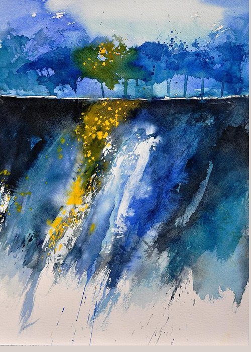 Abstract Greeting Card featuring the painting Watercolor 119001 by Pol Ledent