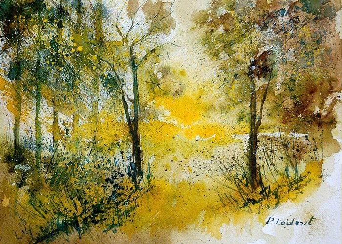 River Greeting Card featuring the painting Watercolor 210108 by Pol Ledent