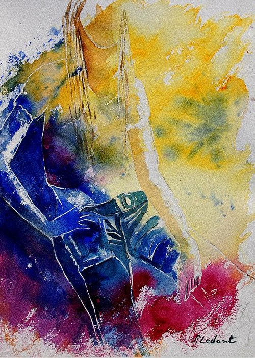 Girl Nude Greeting Card featuring the painting Watercolor 21546 by Pol Ledent