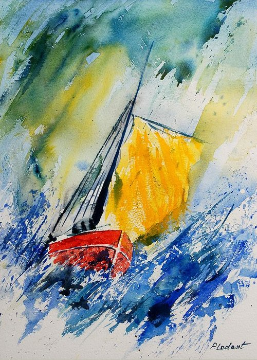 Sea Waves Ocean Boat Sailing Greeting Card featuring the painting Watercolor 280308 by Pol Ledent