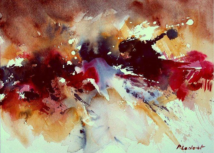 Abstract Greeting Card featuring the painting Watercolor 301107 by Pol Ledent