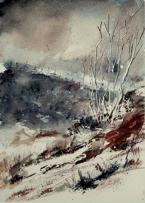 Snow Greeting Card featuring the print Watercolor 446 by Pol Ledent