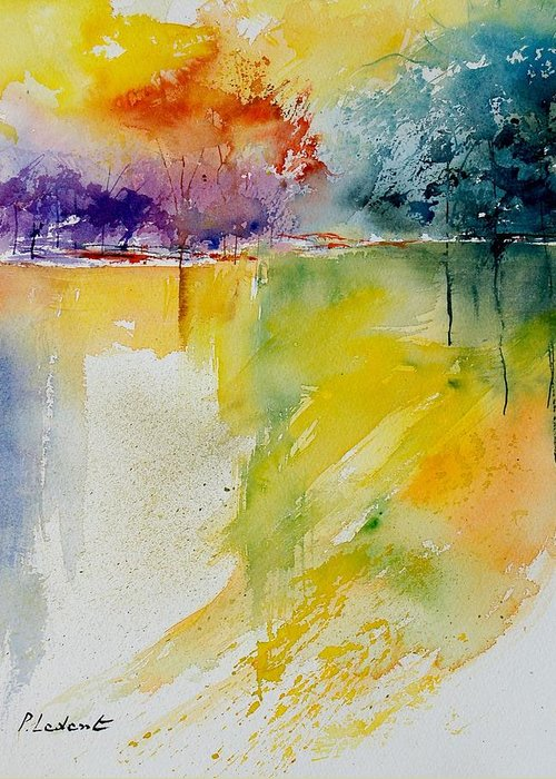 Pond Greeting Card featuring the painting Watercolor 800142 by Pol Ledent