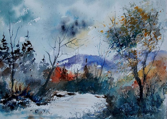 Landscape Greeting Card featuring the painting Watercolor 802120 by Pol Ledent