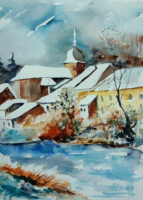 Landscape Greeting Card featuring the painting Watercolor Chassepierre by Pol Ledent