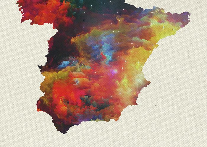 Map Of Spain For Sale.Watercolor Map Of Spain Greeting Card