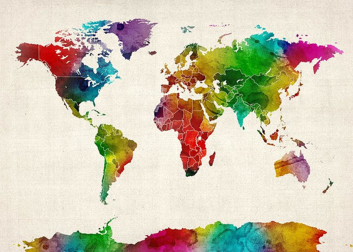 World Map Greeting Card featuring the digital art Watercolor Map Of The World Map by Michael Tompsett
