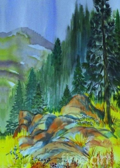 Watercolor Of Forest In Mountains Greeting Card featuring the painting Watercolor of Mountain Forest by Annie Gibbons