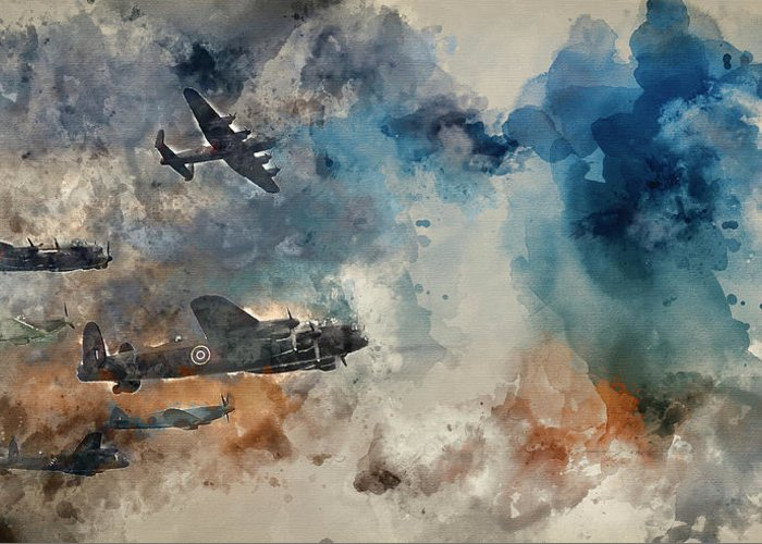 World War Two; World War 2; Ww2; Vintage; Battle Of Britain; Warfare; Flight; Formation; Display; Sky; Clouds; Power; Strength; Allies; Attack; Defense; Offense; Formation; Old; Retro; Inspirational; Heritage; Historic; Nostalgia; Nostalgic; History; Wallpaper; Watercolor; Watercolour; Painting; Art; Artistic; Paper; Texture; Medium; Effect; Filter; Creative; Brushstrokes; Technique; Method Greeting Card featuring the photograph Watercolor Painting Of Flight Formation Of Battle Of Britain World War Two Consisting Of Lancaster B by Matthew Gibson