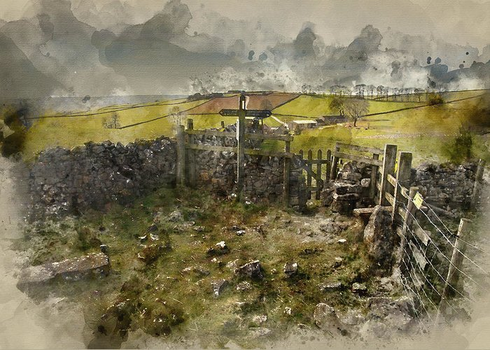 Landscape Greeting Card featuring the photograph Watercolor Painting Of Public Footpath Signposts In Landscape In by Matthew Gibson