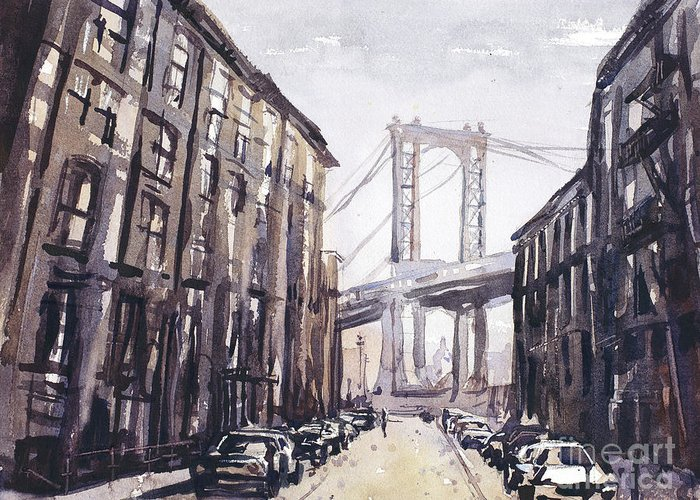 Art For House Greeting Card featuring the painting Watercolor Painting Of The Brooklyn Bridge As Viewed From Brookl by Ryan Fox