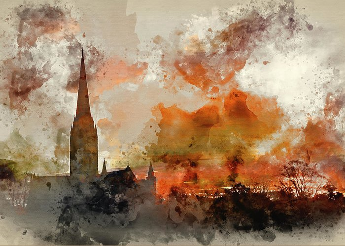 Church Greeting Card featuring the photograph Watercolor Painting Of Winter Frosty Sunrise Landscape Salisbury by Matthew Gibson