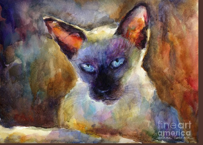 Watercolor Cat Painting Greeting Card featuring the painting Watercolor Siamese Cat Painting by Svetlana Novikova