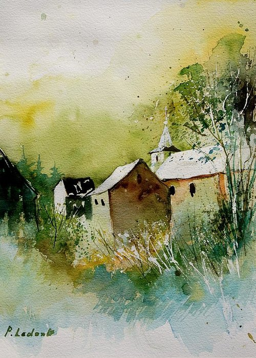 Landscape Greeting Card featuring the painting Watercolor Sosoye by Pol Ledent