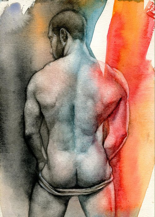 Male Greeting Card featuring the painting Watercolor Study 6 by Chris Lopez