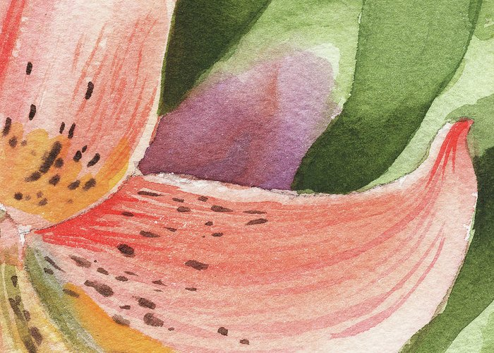 Petals Greeting Card featuring the painting Watercolor Tiger Lily Dance Of Petals Close Up by Irina Sztukowski