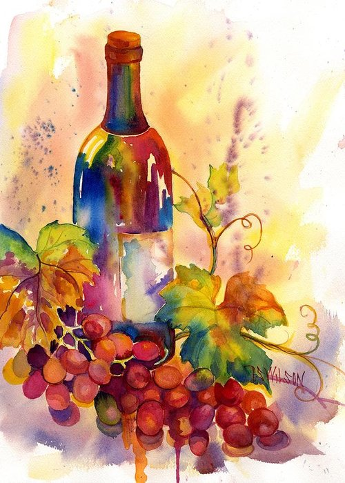Wine Greeting Card featuring the painting Watercolor Wine by Peggy Wilson