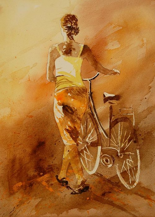 Figurative Greeting Card featuring the painting Watercolor With My Bike by Pol Ledent