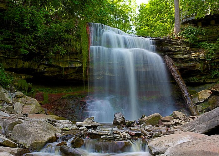 Hamilton Greeting Card featuring the photograph Waterdown Falls by Ray Akey