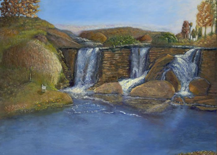 Landscape Greeting Card featuring the painting Waterfall - Dancing Lights by Rita Cortesi