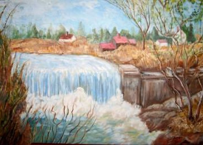 Small Waterfall With Buildings And    Landscape              Greeting Card featuring the painting Waterfall 1 by Joseph Sandora Jr