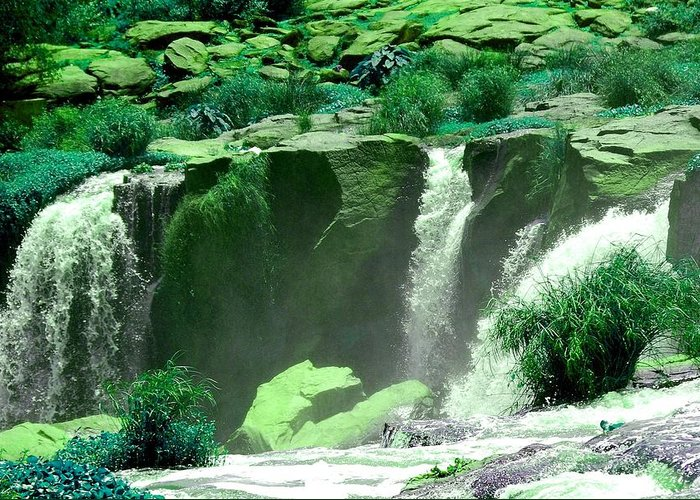 Water Greeting Card featuring the photograph Waterfall by Apurva Madia