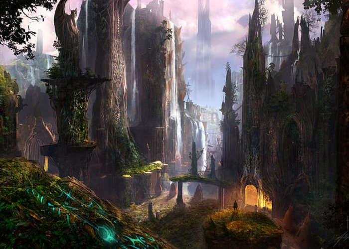Concept Art Greeting Card featuring the digital art Waterfall Celtic Ruins by Alex Ruiz