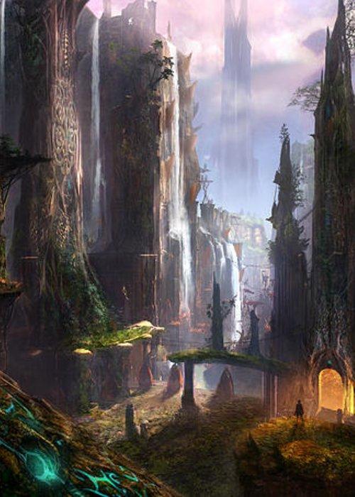 Concept Art Greeting Card featuring the digital art Waterfall Celtic Ruins by Alex Ruiz