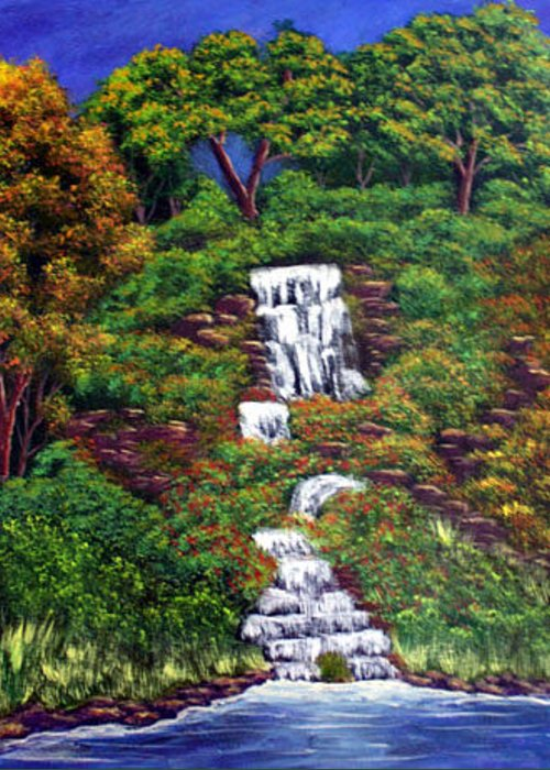 Waterfall Greeting Card featuring the painting Waterfall by Dawn Blair