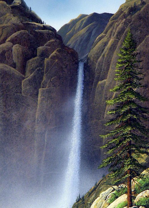 Wilderness Greeting Card featuring the painting Waterfall by Frank Wilson