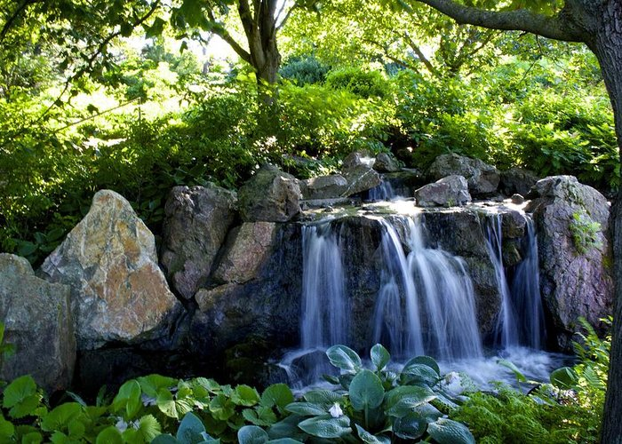 Waterfall Greeting Card featuring the photograph Waterfall Garden by Sharin Gabl