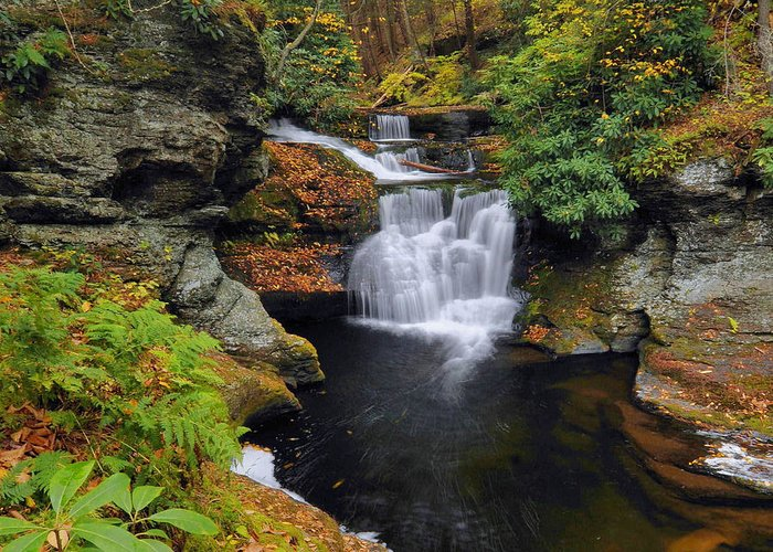 Waterfall Greeting Card featuring the photograph Waterfall In Autumn by Stephen Vecchiotti