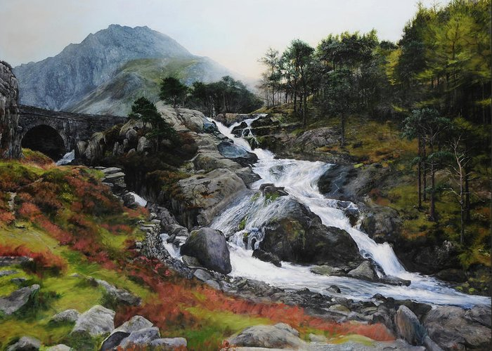 Landscape Greeting Card featuring the painting Waterfall In February. by Harry Robertson
