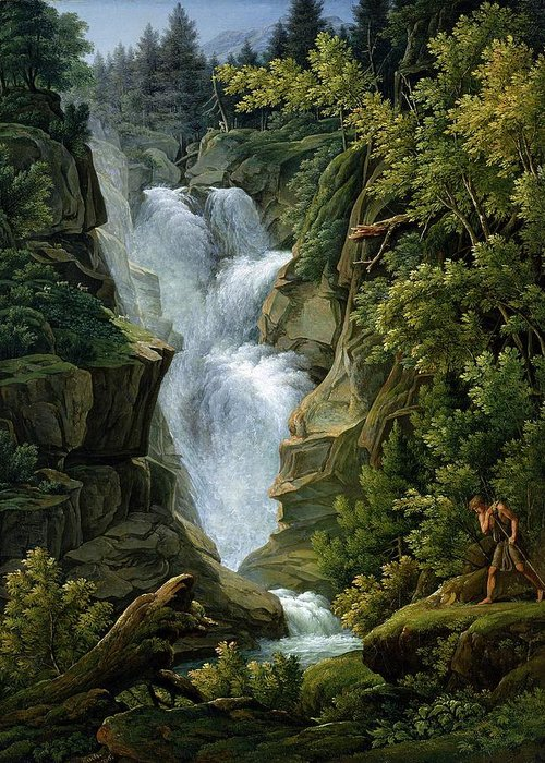 Waterfall Greeting Card featuring the painting Waterfall In The Bern Highlands by Joseph Anton Koch