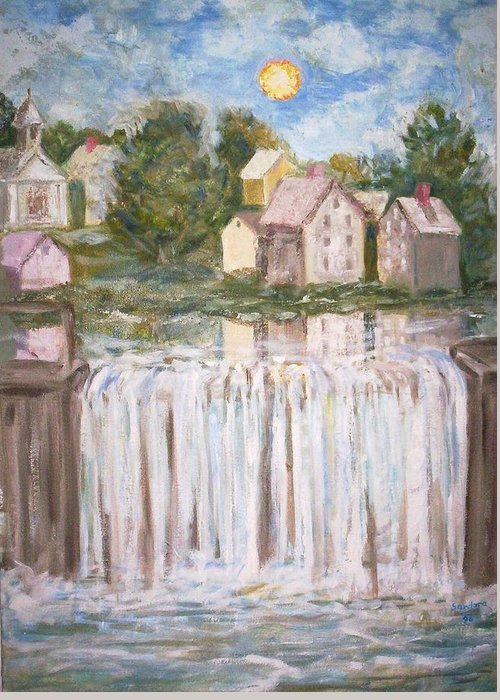 Landscape Greeting Card featuring the painting Waterfall by Joseph Sandora Jr