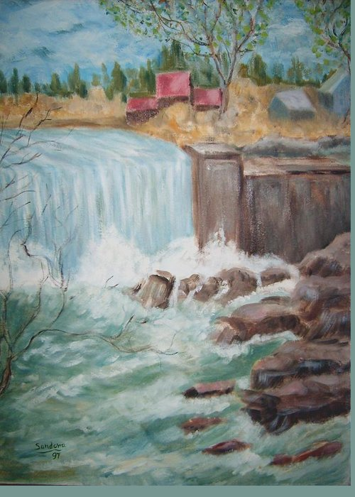 Waterfall Rocks Trees Homes Water Nature Landscape Greeting Card featuring the painting Waterfall Lw by Joseph Sandora Jr