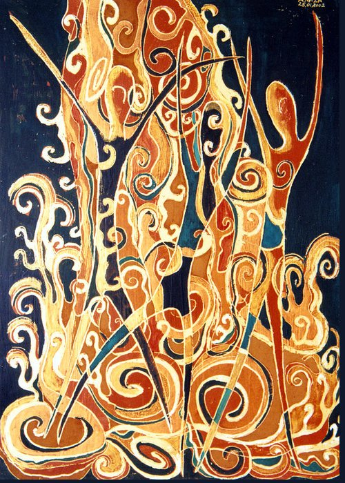 Figures Greeting Card featuring the painting Waterfall Of A Golden Rain by Aliza Souleyeva-Alexander
