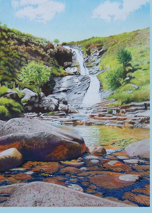 Waterfall Greeting Card featuring the mixed media Waterfall On Skye 2 by Constance Drescher