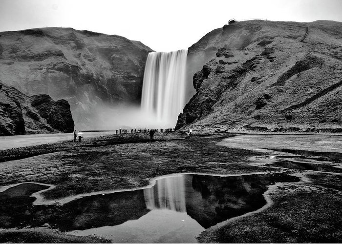 Black And White Greeting Card featuring the photograph Waterfall Reflections by Alex Walker