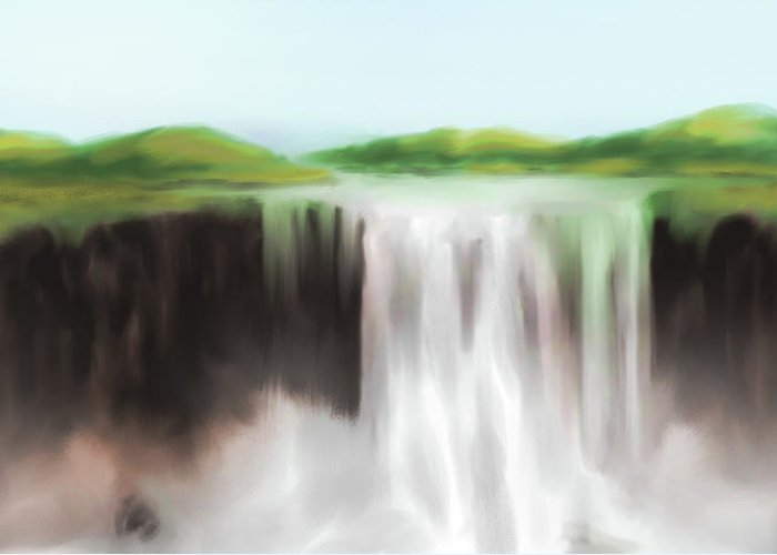 Water Greeting Card featuring the painting Waterfall Study 1 by James Leonard