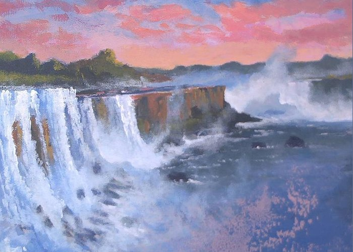 Water Greeting Card featuring the painting Waterfall Study by Curt Curt